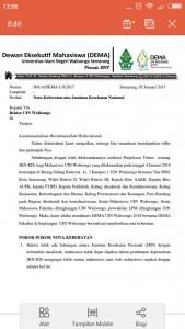 Nota Keberatan atas pemberlakuan kartu Jaminan Kesehatan Nasional terhadap mahasasiswa UIN Walisongo Semarang. Diluncurkan pada Jum'at (5/01/2017)