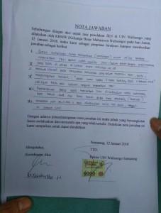 Nota Jawaban yang dikeluarkanberdasarkan hasil musyawarah  birokrasi.