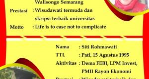 Wisudawati terbaik UIN Walisongo dan Fakultas Ekonomi dan Bisnis Islam periode Maret 2018.