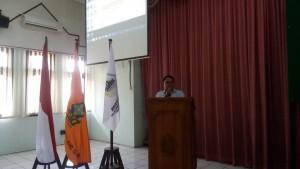 Muhaimin, Kasubag AKA FEBI saat memberikan sambutan dalam acara Musyawarah Besar FEBI di Auditorium 1 Lantai 2 Kampus I UIN Walisongo Semarang.  Selasa, (12/3/2019)