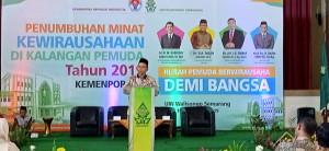 Imam Taufiq saat memberikan sambutan dalam acara yang digelar bersama Kemenpora di Audit 2 Kampus 3 UIN Walisongo Semarang. Selasa, (10/9/2019)