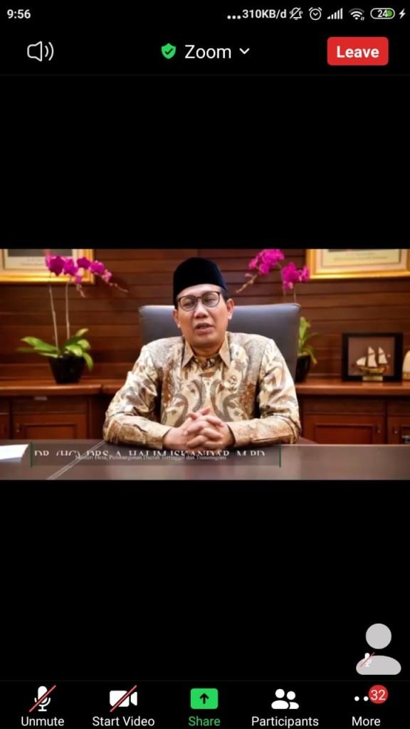 Sambutan Halim Iskandar Menteri Desa Pembangunan Daerah Tertinggal dan Transmigrasi melalui Zoom Meeting