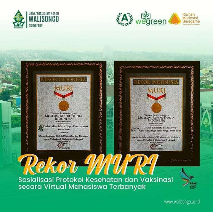 (Foto Piagam Penghargaan dari MURI diterima UIN Walisongo dan DEMA-U. Sumber: instagram @uinwalisongosemarang)